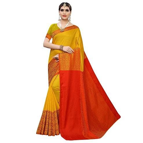Prominent Yellow Colored Casual Wear Printed Banarasi Silk Saree
