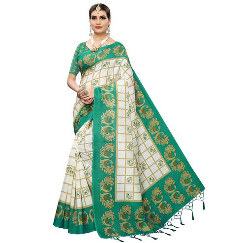 Appealing White-Green Colored Casual Wear Printed Art Silk Saree With Tassles