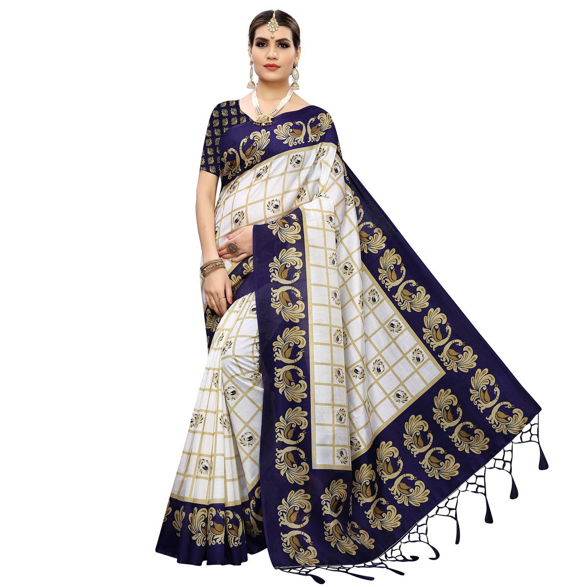 Radiant White-Navy Blue Colored Casual Wear Printed Art Silk Saree With Tassles