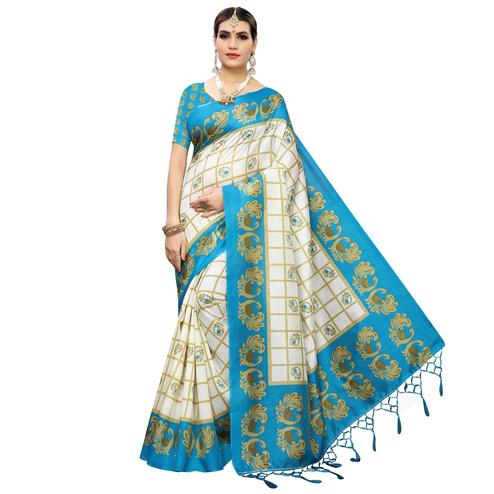 Opulent White-Rama Blue Colored Casual Wear Printed Art Silk Saree With Tassles