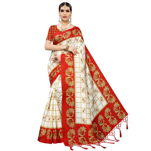 Energetic White-Red Colored Casual Wear Printed Art Silk Saree With Tassles