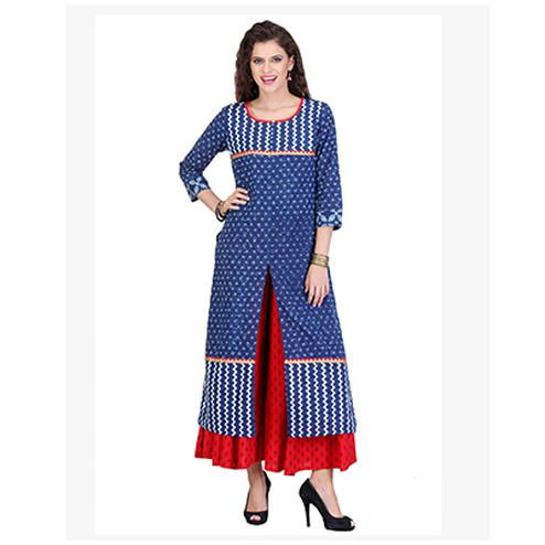 Blue Cotton Cambric Front Slit Kurti
