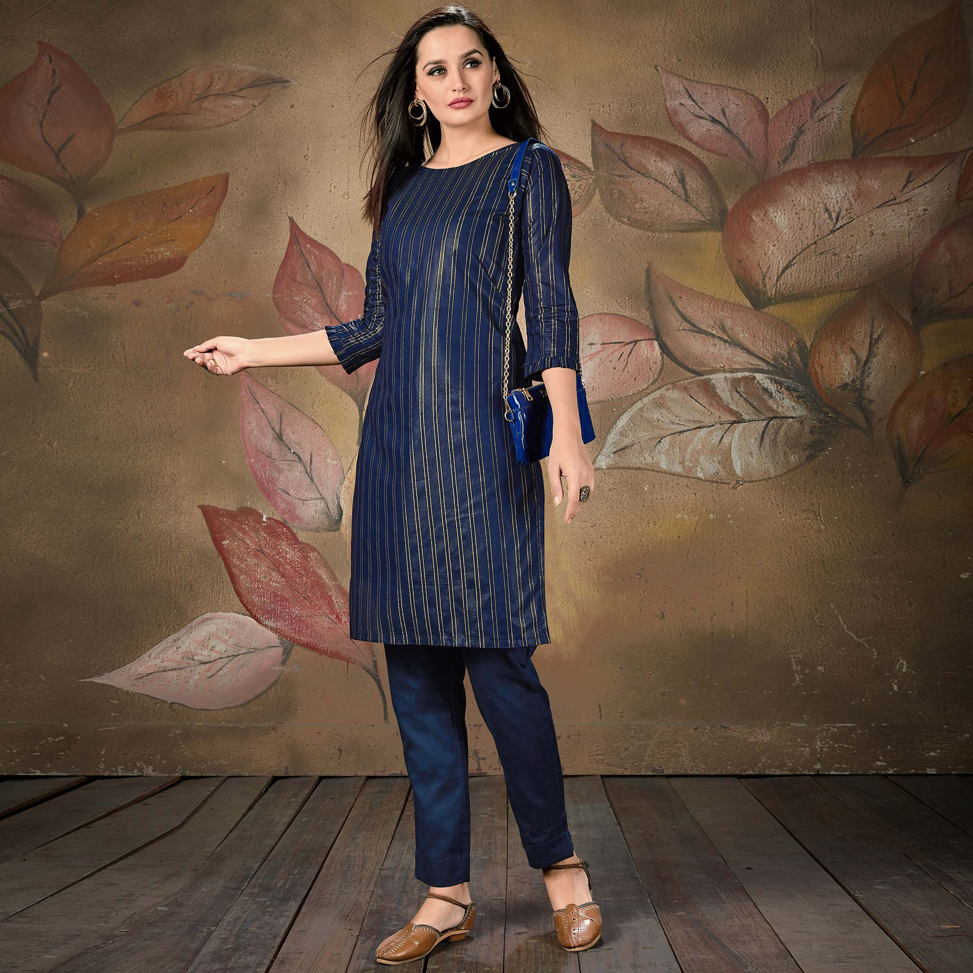 Ideal Navy Blue Colored Casual Wear Printed Cotton Kurti