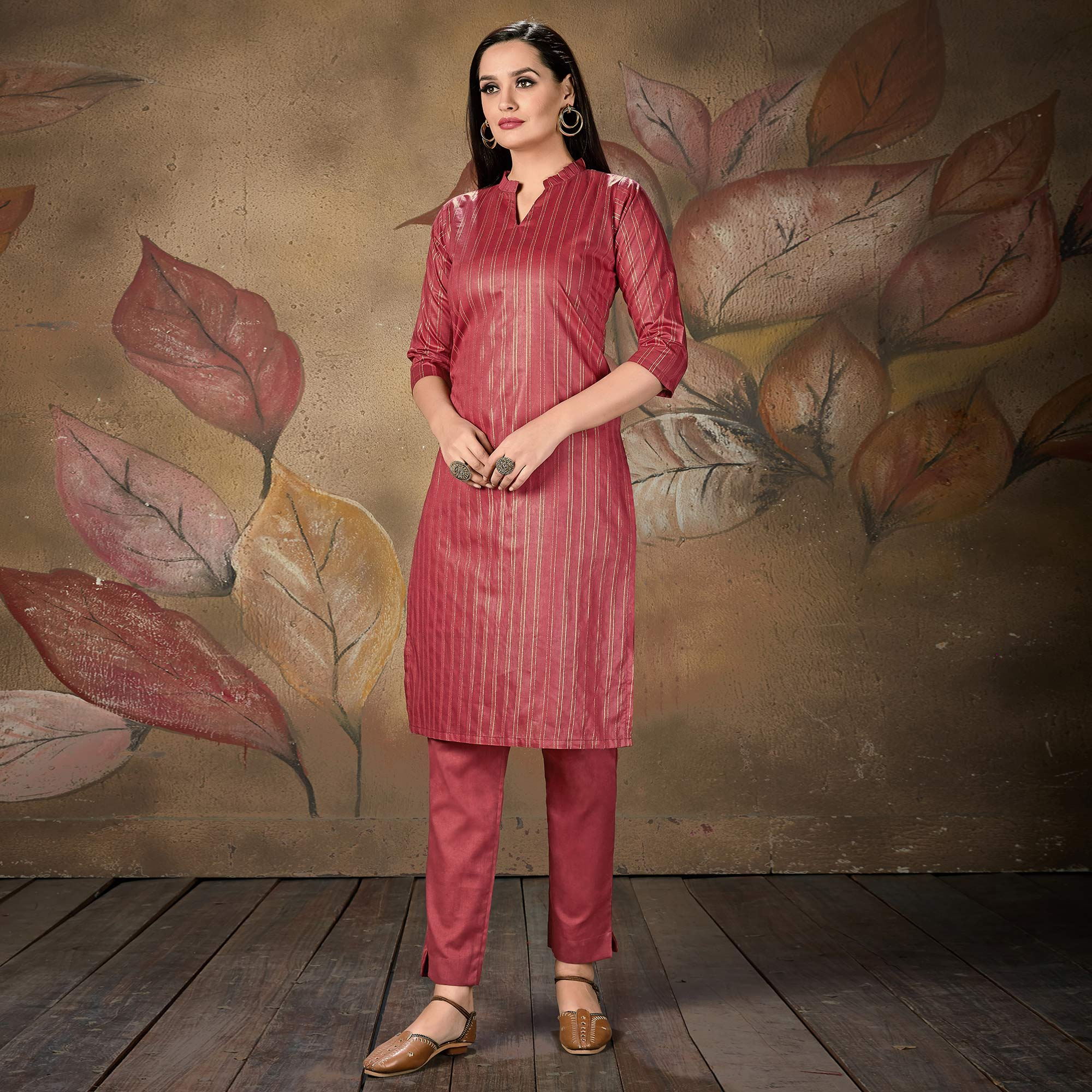 Imposing Mauve Colored Casual Wear Printed Cotton Kurti
