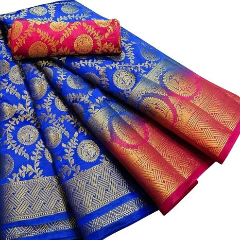 Imposing Blue Colored Festive Wear Woven Silk Blend Saree