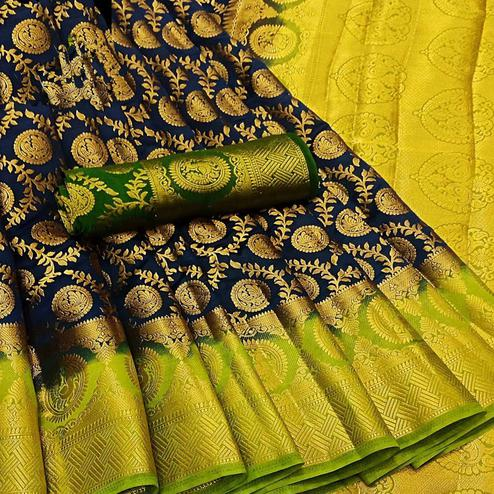 Lovely Navy Blue Colored Festive Wear Woven Silk Blend Saree