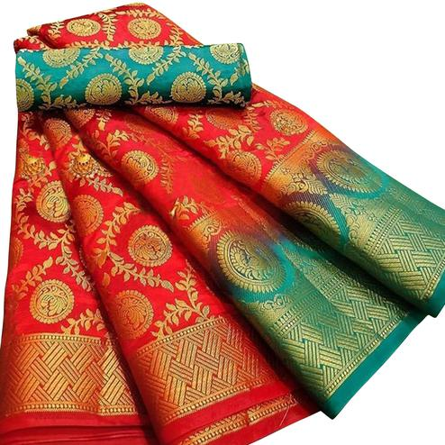 Majesty Red Colored Festive Wear Woven Silk Blend Saree