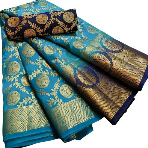 Impressive Sky Blue Colored Festive Wear Woven Silk Blend Saree