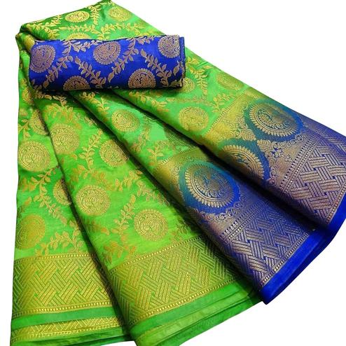 Mesmerising Green Colored Festive Wear Woven Silk Blend Saree