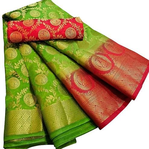 Pleasance Green Colored Festive Wear Woven Silk Blend Saree