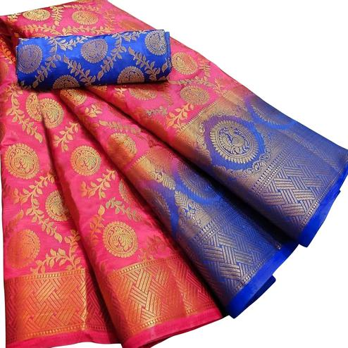 Breathtaking Pink Colored Festive Wear Woven Silk Blend Saree