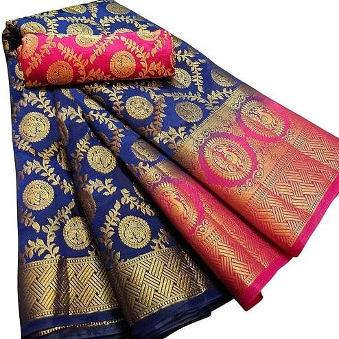 Ethnic Navy Blue Colored Festive Wear Woven Silk Blend Saree