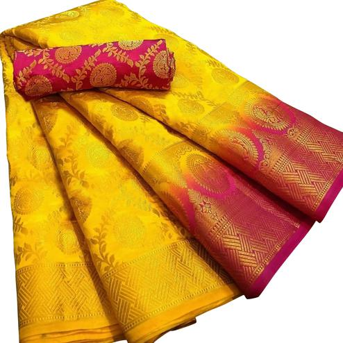 Ravishing Yellow Colored Festive Wear Woven Silk Blend Saree