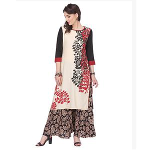 Off White Floral Printed Stitched Kurti