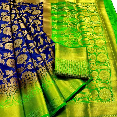 Demanding Navy Blue Colored Festive Wear Woven Silk Blend Saree