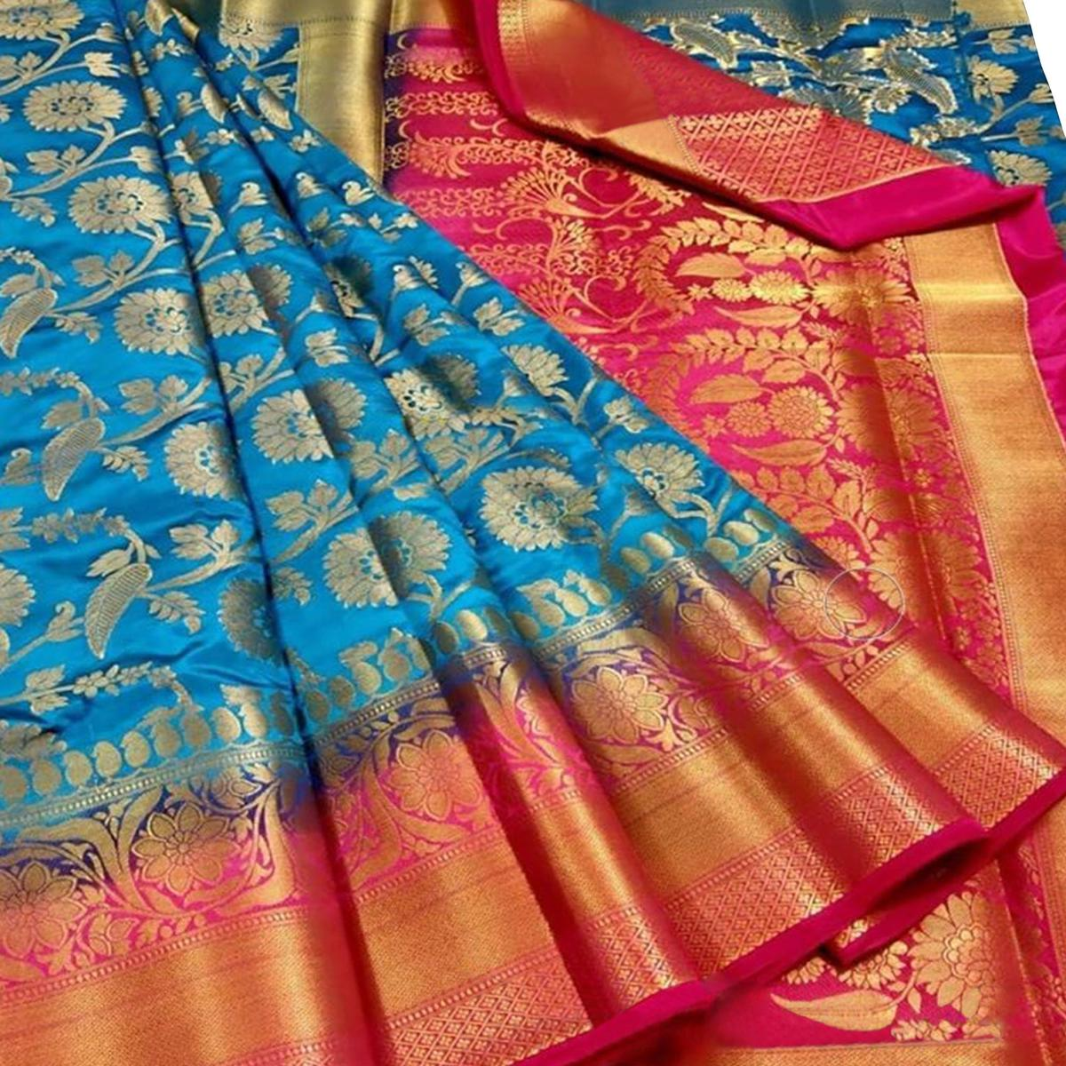 Refreshing Blue Colored Festive Wear Woven Silk Blend Saree
