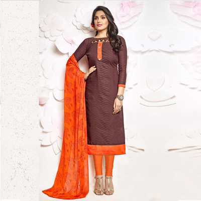 Brown Printed Unstitched Dress Material