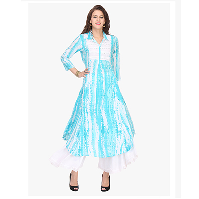White - Sky Blue Printed Stitched Kurti