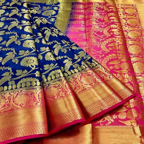 Magnetic Navy Blue Colored Festive Wear Woven Silk Blend Saree