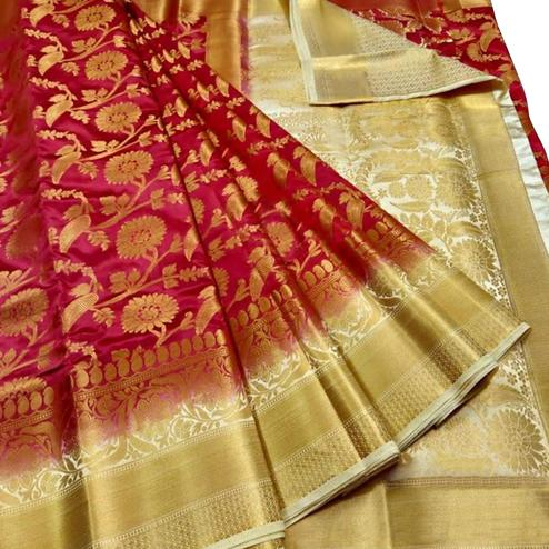 Flattering Pink Colored Festive Wear Woven Silk Blend Saree