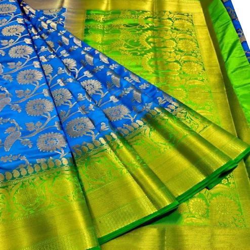 Excellent Blue Colored Festive Wear Woven Silk Blend Saree