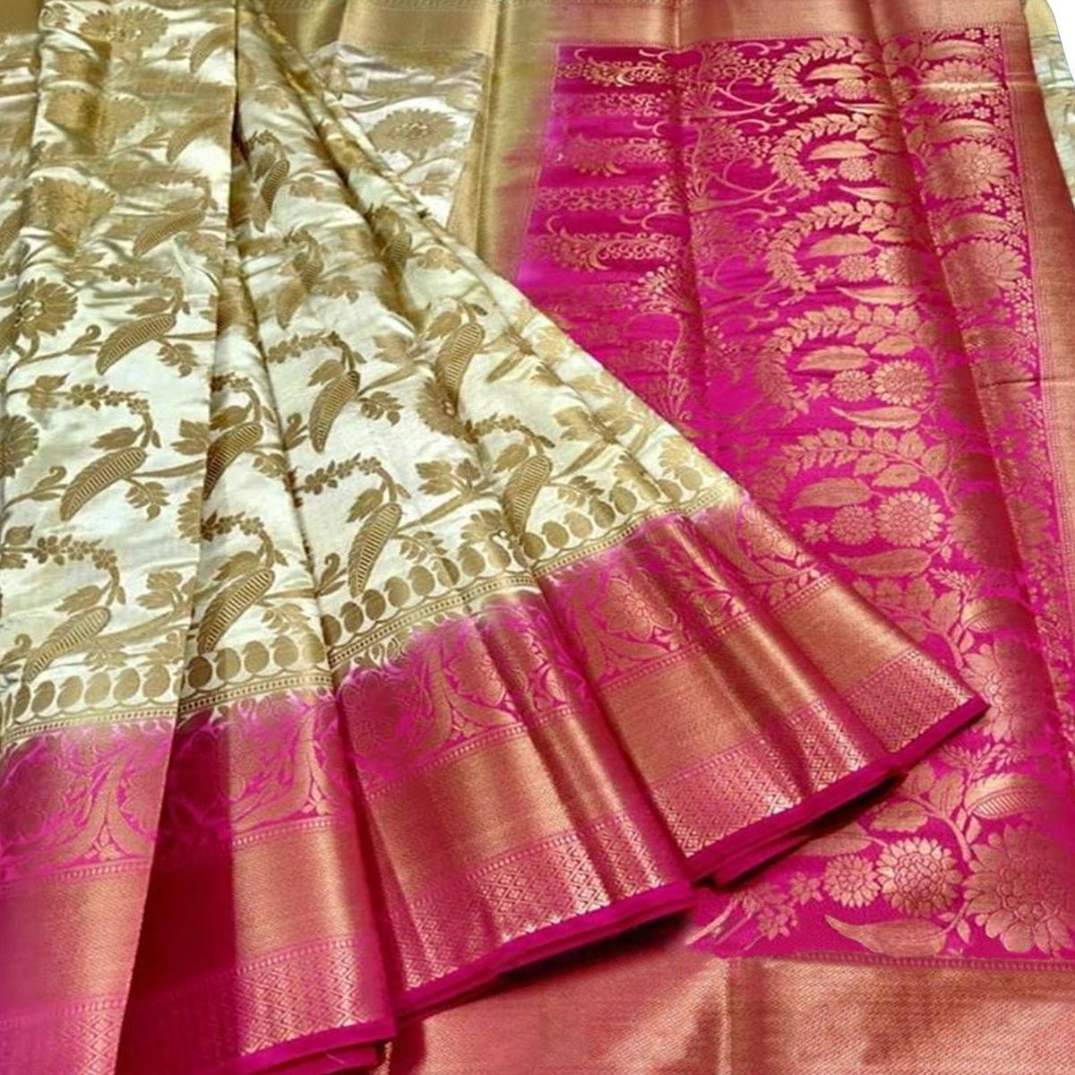 Preferable White Colored Festive Wear Woven Silk Blend Saree