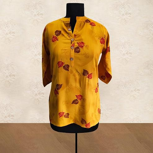 Groovy Mustard Yellow Colored Casual Wear Printed Rayon Top