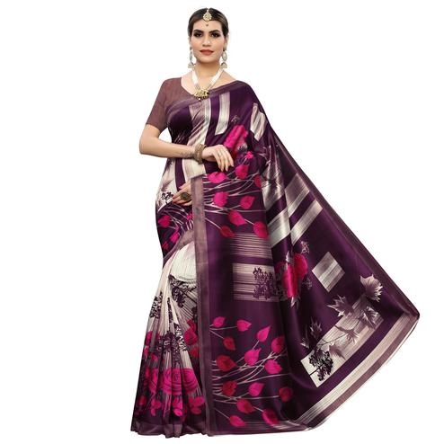 Adorable Wine Colored Casual Printed Art Silk Saree