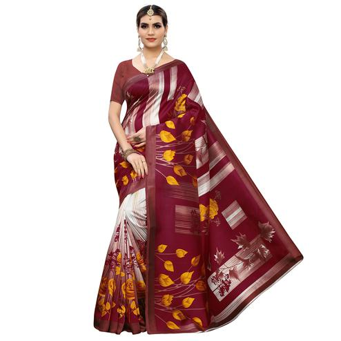 Glorious Maroon Colored Casual Printed Art Silk Saree