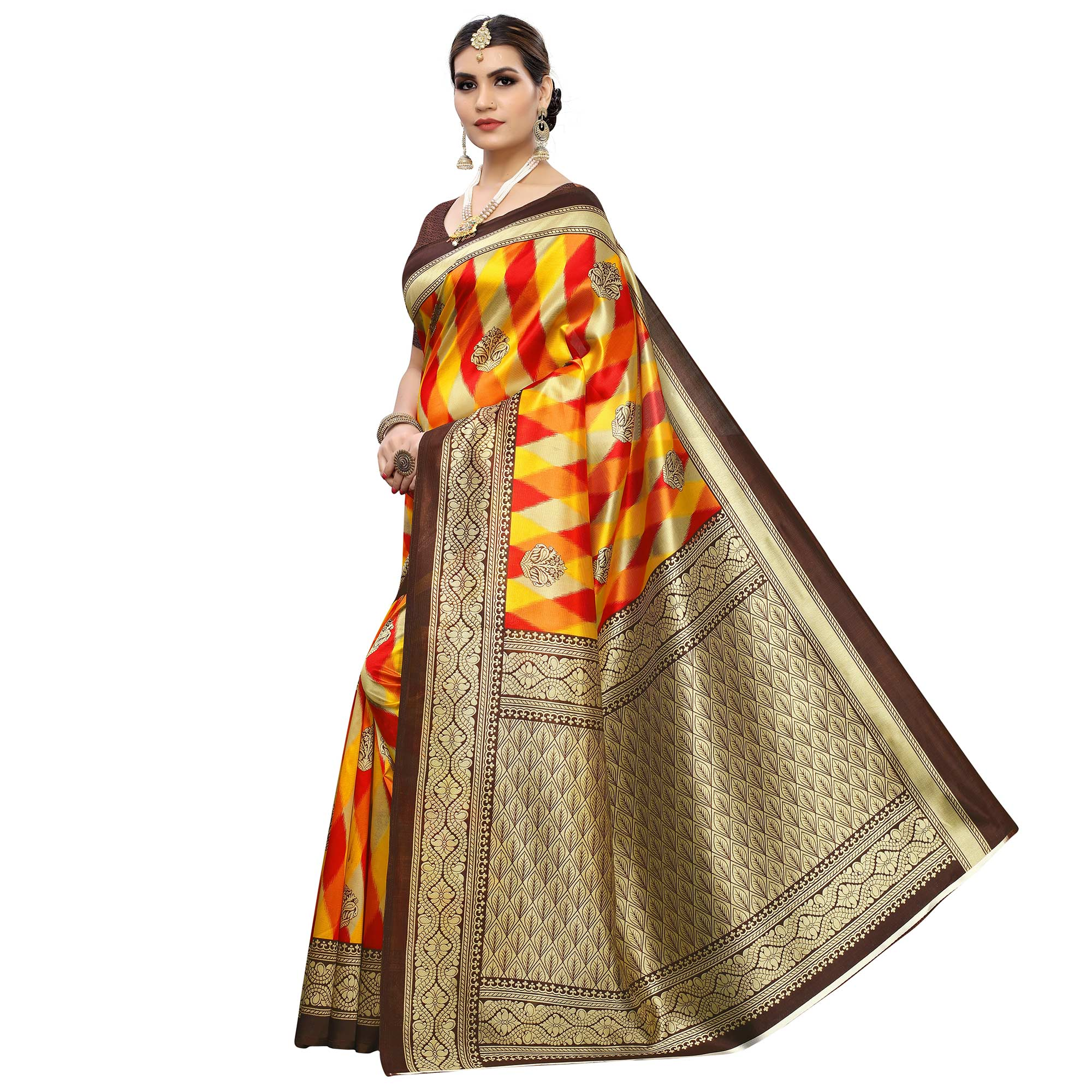 Attractive Yellow-Red Colored Casual Printed Art Silk Saree