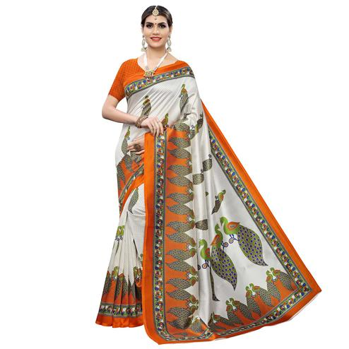 Delightful White-Orange Colored Casual Printed Art Silk Saree