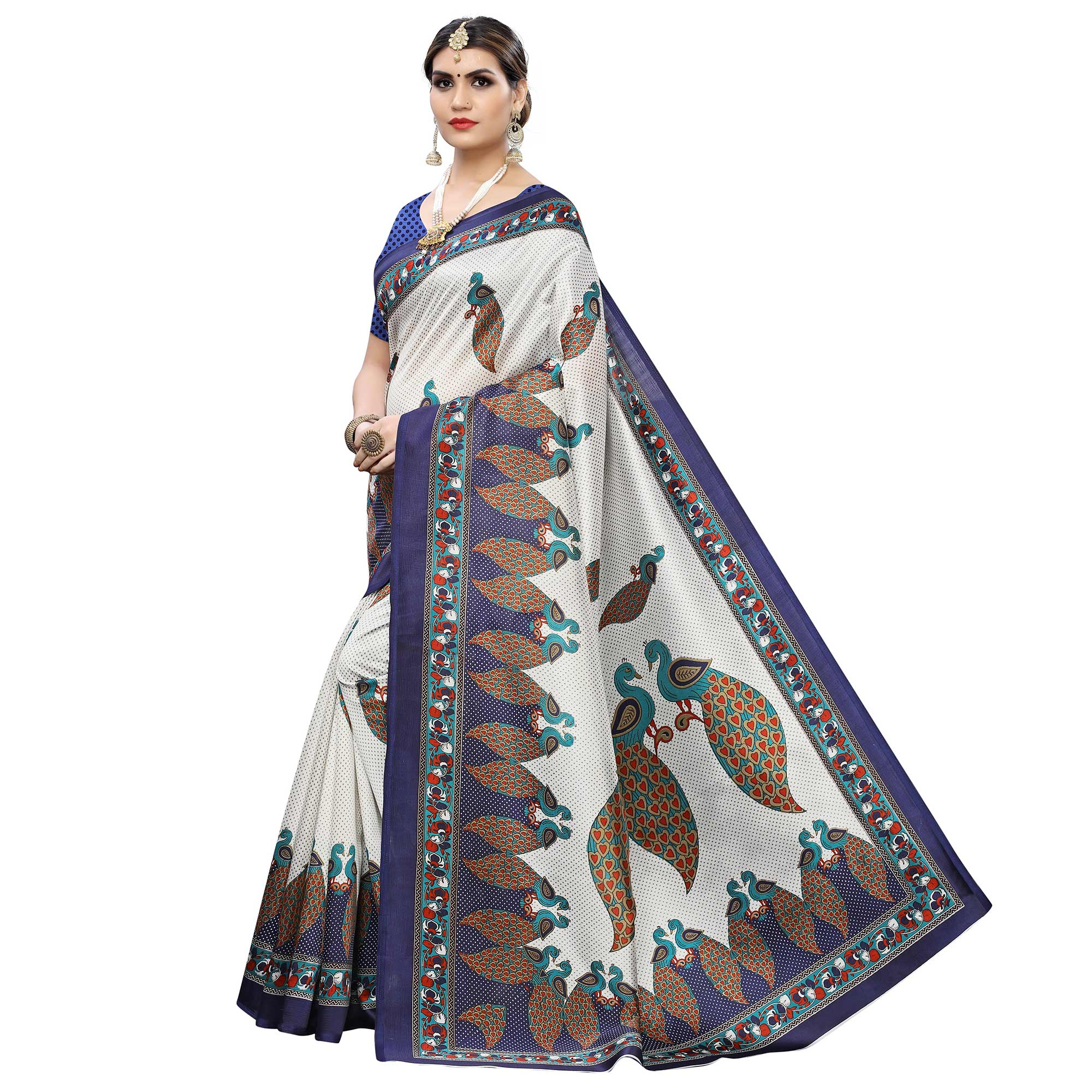 Engrossing White-Blue Colored Casual Printed Art Silk Saree