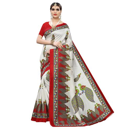 Captivating White-Red Colored Casual Printed Art Silk Saree