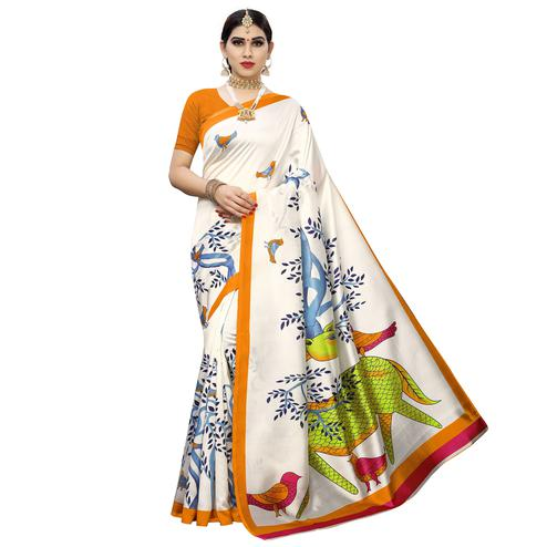 Eye-catching White-Orange Colored Casual Printed Art Silk Saree