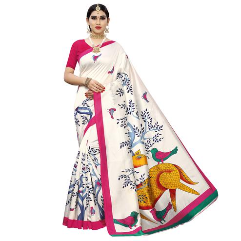 Fantastic White-Pink Colored Casual Printed Art Silk Saree