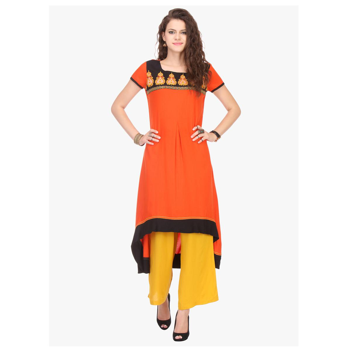 Orange High Low Style Stitched Kurti