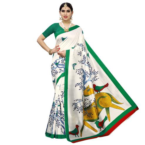 Amazing White-Green Colored Casual Printed Art Silk Saree