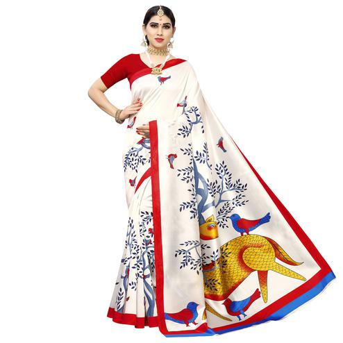 Gorgeous White-Red Colored Casual Printed Art Silk Saree