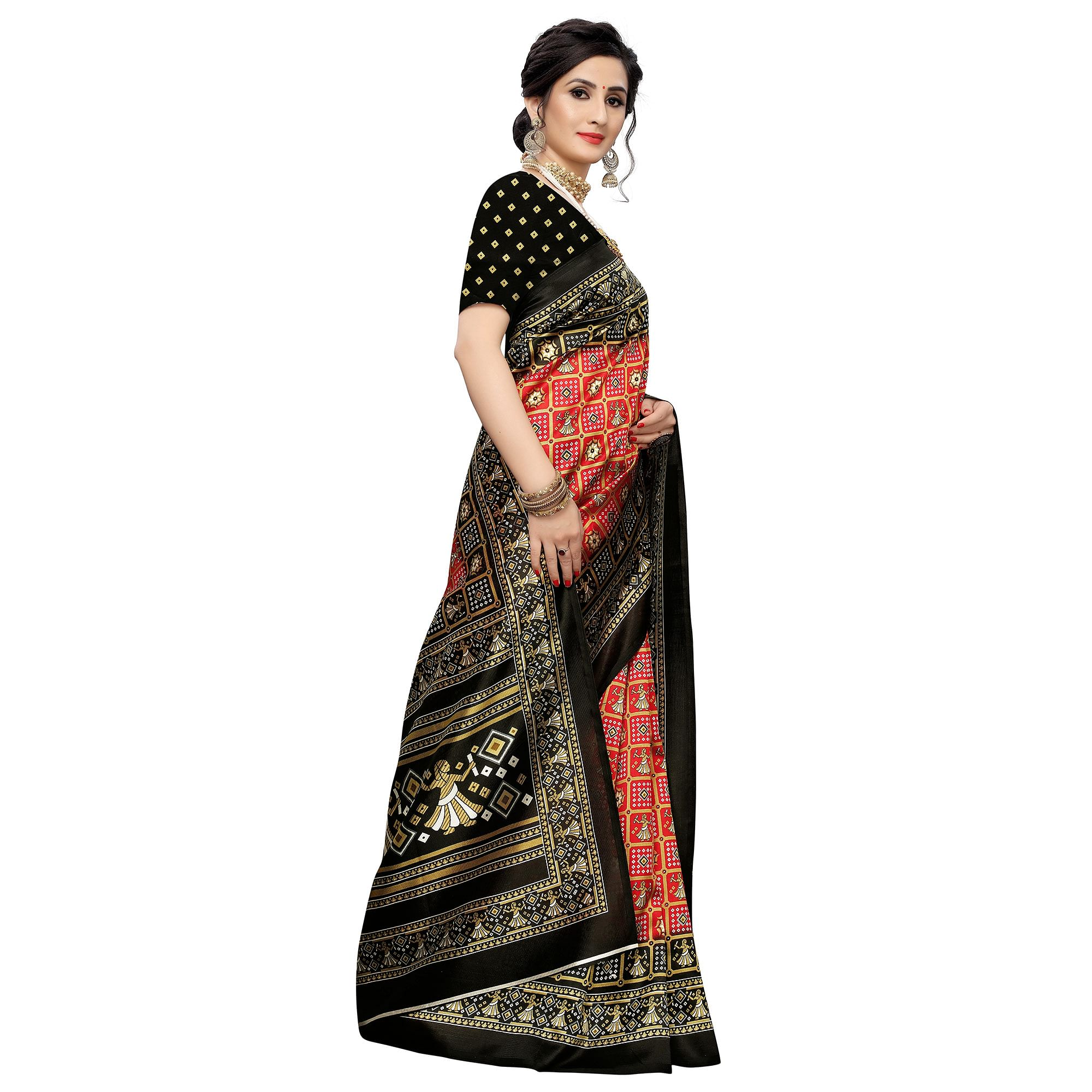 Blissful Red Colored Casual Printed Art Silk Saree