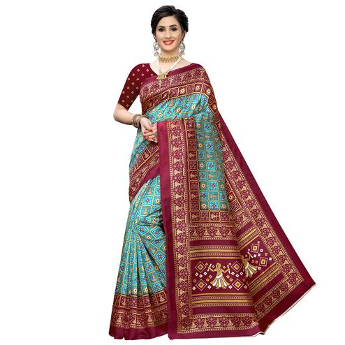 Majesty Sky Blue Colored Casual Printed Art Silk Saree