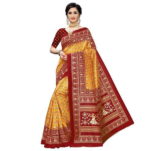 Impressive Yellow Colored Casual Printed Art Silk Saree