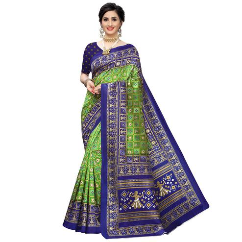Mesmerising Green Colored Casual Printed Art Silk Saree