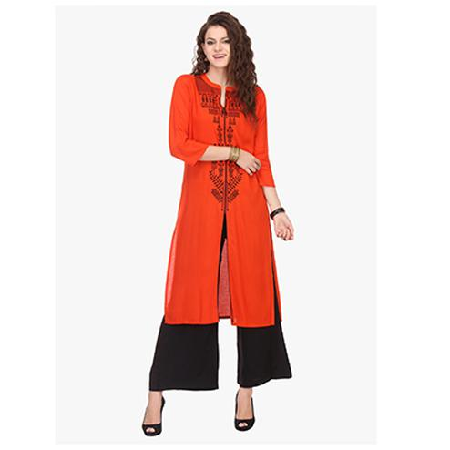 Red Front Slit Stitched Kurti