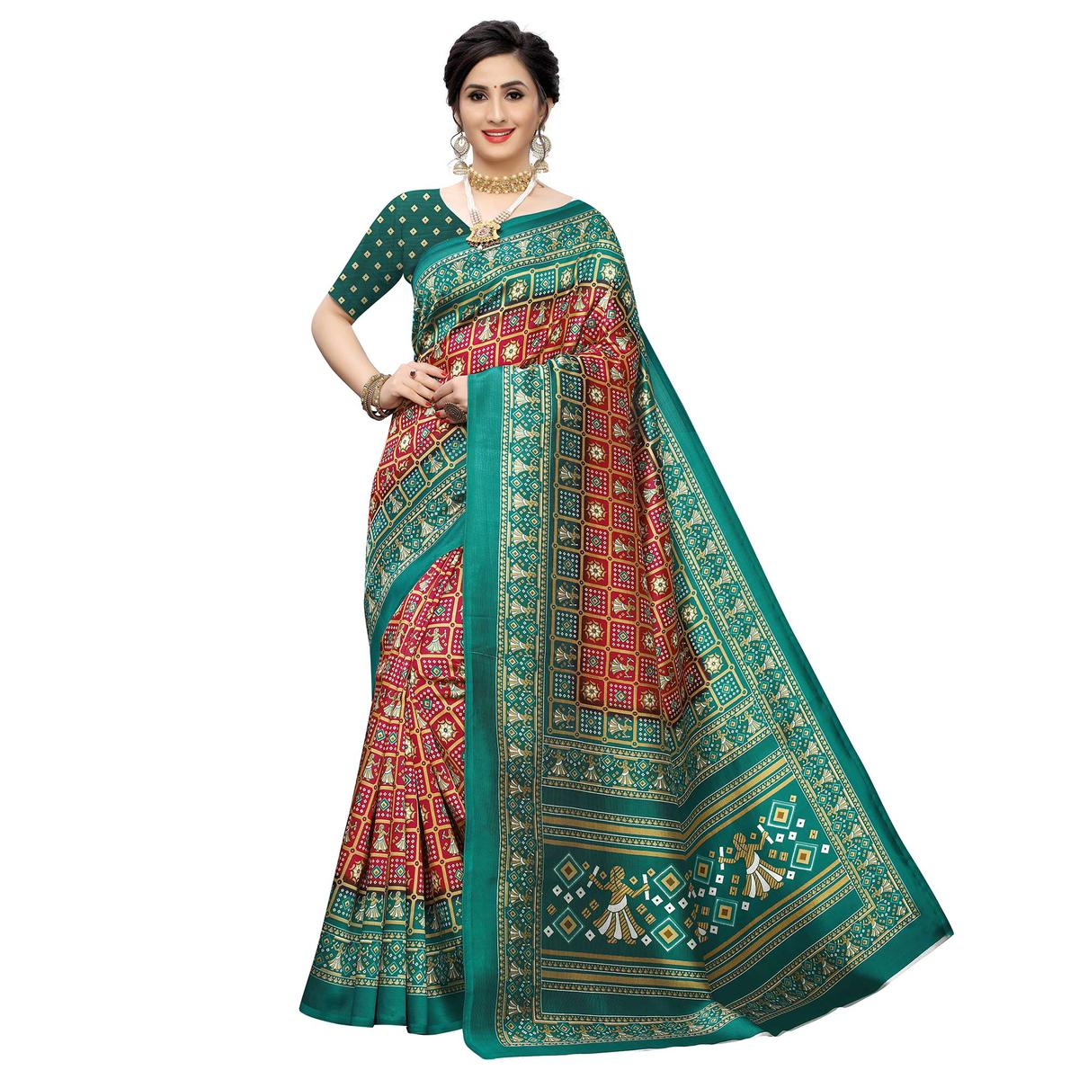 Breathtaking Red Colored Casual Printed Art Silk Saree