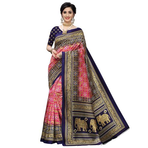 Dazzling Pink Colored Casual Printed Art Silk Saree
