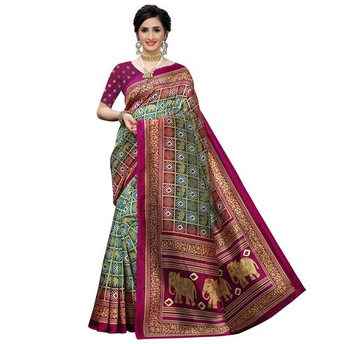 Surpassing Green Colored Casual Printed Art Silk Saree