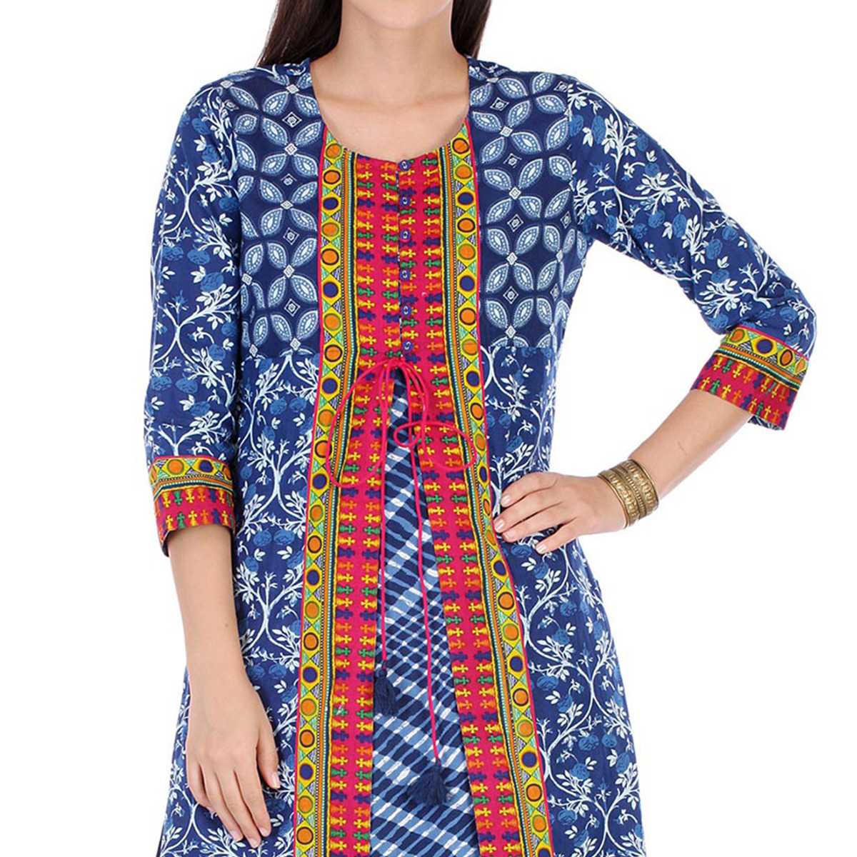 Blue Cotton Cambric Stitched Kurti