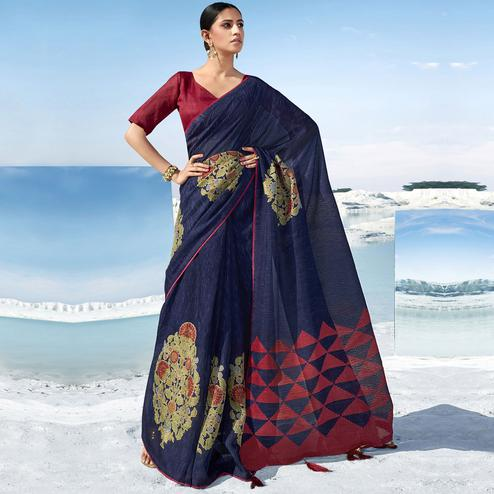 Pleasance Blue Colored Casual Wear Printed Cotton Saree With Tassels