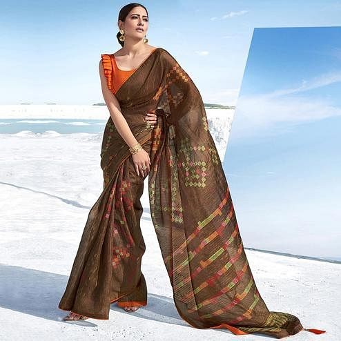 Staring Brown Colored Casual Wear Printed Cotton Saree With Tassles