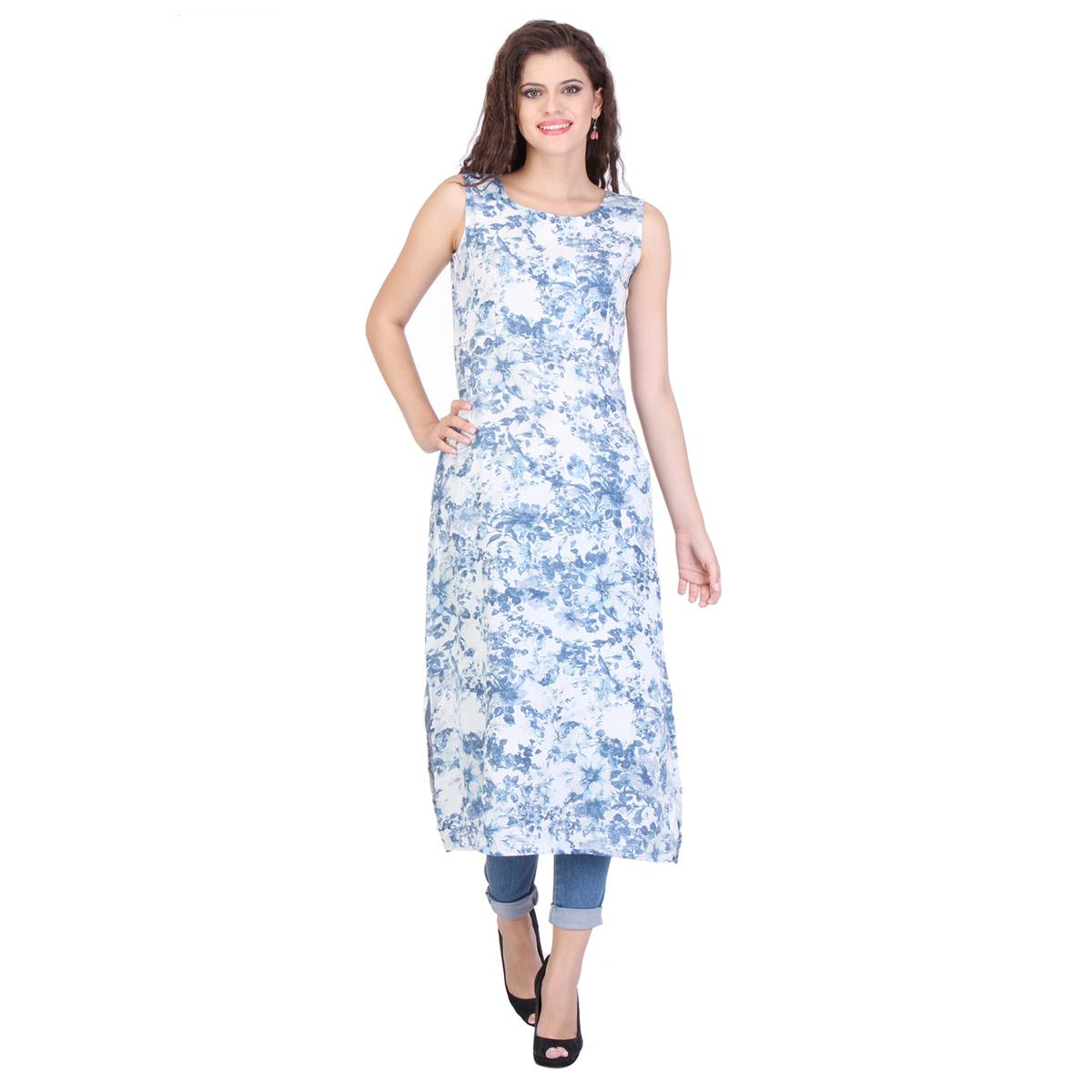 White Floral Printed Long Kurti